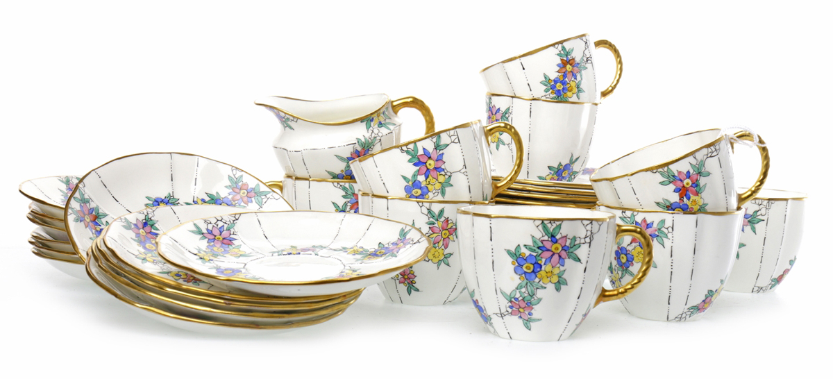 Lot 1203: Mid-20th century Royal Crown Derby part tea service by Agnes Bain Herbert, est  £60 – 100
