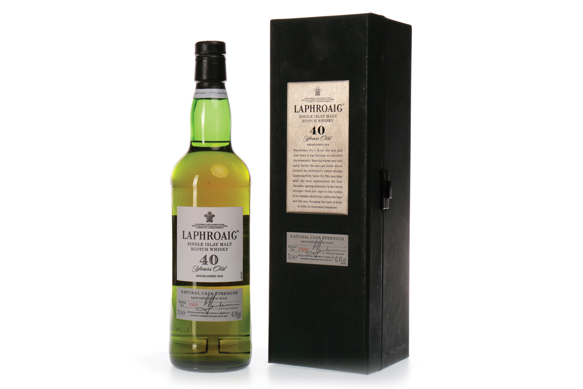 Bottle of Laphroaig 1960 aged 40 years with box