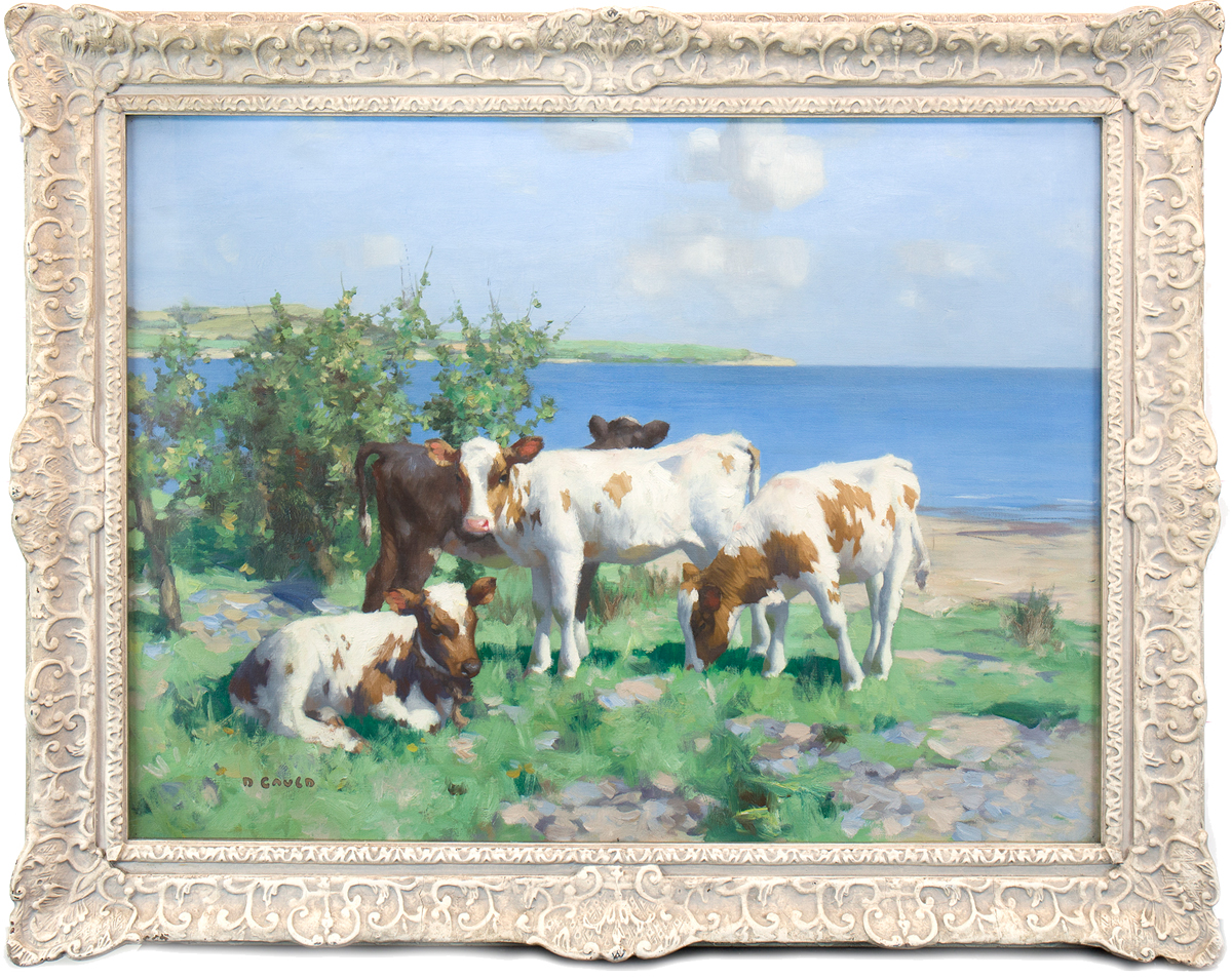 DAVID GAULD RSA (SCOTTISH 1865 - 1936), CALVES IN SUNSHINE BY THE WATER