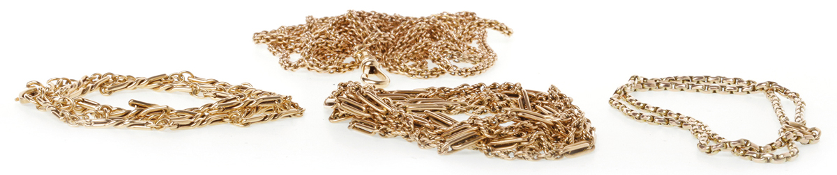 FOUR GOLD CHAINS comprising a nine carat gold fancy link chain, 18.9g; a fancy link watch chain with dog clip clasp, marked 375, 38.7g; a double wheat-style watch chain with dog clip clasp, marked 375, 38.2g and a belcher link necklet marked 375, 7.7g