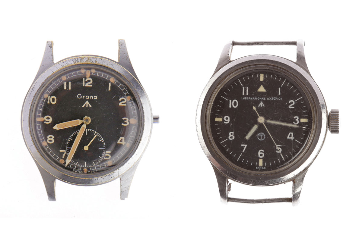 Image of two military watches sold in the recent auction at McTear's