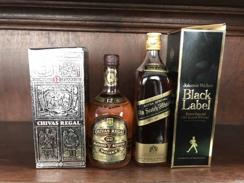 Lot 25-JOHNNIE WALKER BLACK LABEL Blended Scotch Whisky. ...