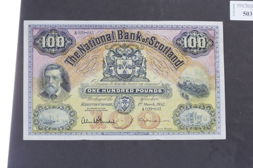 Lot 503 - THE NATIONAL BANK OF SCOTLAND £100 ONE HUNDRED...