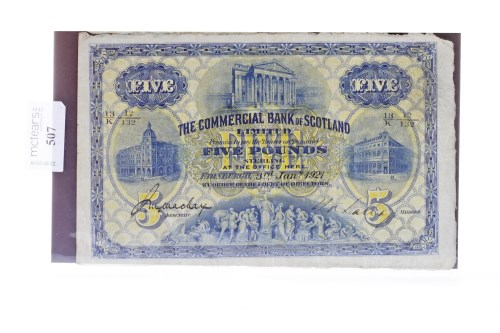 Lot 507 - THE COMMERCIAL BANK OF SCOTLAND £5 FIVE POUND...