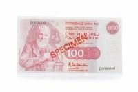 Lot 535 - SPECIMEN CLYDESDALE BANK PLC £100 ONE HUNDRED...