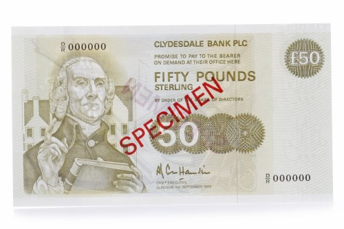 Lot 536 - SPECIMEN CLYDESDALE BANK £50 FIFTY POUNDS NOTE...