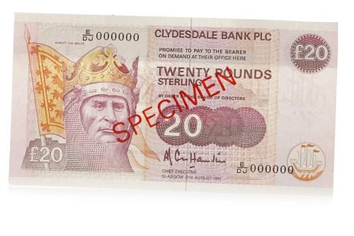 Lot 537 - SPECIMEN CLYDESDALE BANK PLC £20 TWENTY POUNDS...