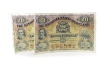 Lot 591 - TWO THE NATIONAL BANK OF SCOTLAND £20 TWENTY...