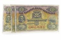 Lot 592 - THREE THE NATIONAL BANK OF SCOTLAND £20 TWENTY...