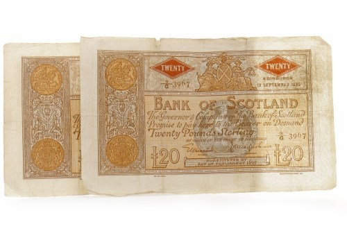 Lot 596 - BANK OF SCOTLAND £10 TEN POUNDS NOTE DATED 28...