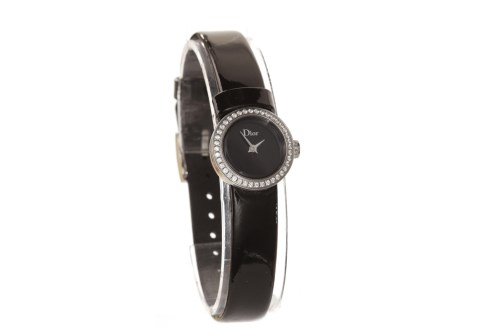 Lot 756 - LADY'S DIOR DIAMOND SET STAINLESS STEEL QUARTZ...