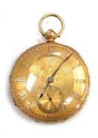 Lot 789 - EIGHTEEN CARAT GOLD OPEN FACE KEY WIND POCKET...