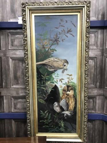 Lot 11-CONTEMPORARY SCHOOL, BIRDS FEEDING oil on canvas...