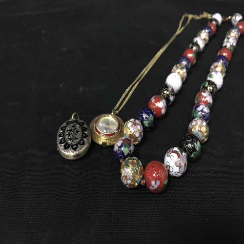 Lot 19-VICTORIAN ENAMELLED LOCKET along with an 18ct...