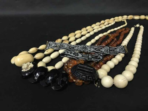 Lot 27-EARLY 20TH CENTURY IVORY BEAD NECKLACE, AMBER...