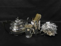 Lot 35-SILVER PLATED TEA POT along with a pair of shell...
