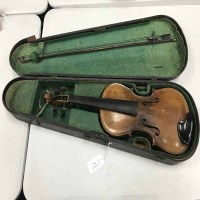 Lot 51-TWO VIOLINS with bows, each in fitted case