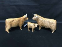 Lot 68 - TRIO OF BESWICK HIGHLAND COWS with stamped...