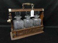 Lot 77 - EARLY 20TH CENTURY OAK AND CUT GLASS THREE...