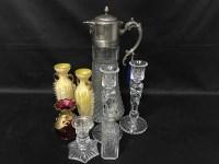 Lot 86 - LOT OF DECORATIVE GLASS including a claret jug...