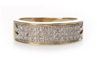 Lot 134-NINE CARAT GOLD DIAMOND SET BAND 6mm wide, the...