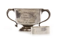 Lot 810-GEORGE V SILVER TWIN HANDLED TROPHY CUP maker...