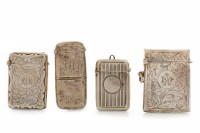 Lot 818-FOUR EARLY 20TH CENTURY SILVER VESTA CASES...