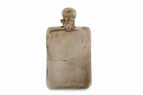 Lot 822-LATE VICTORIAN SILVER HIPFLASK marks rubbed...