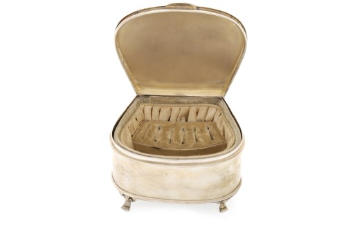 Lot 824-EARLY 20TH CENTURY SILVER JEWELLERY CASKET maker...