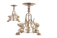 Lot 833-PAIR OF WHITE METAL CANDLESTICKS OF NEOCLASSICAL...