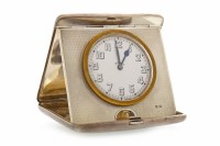 Lot 844-GEORGE V SILVER CASED DESK CLOCK maker Synyer and ...