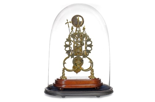 Lot 1407-VICTORIAN BRASS SKELETON CLOCK with single fusee...