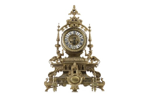 Lot 1411-REPRODUCTION FRENCH BRASS MANTEL CLOCK the two...