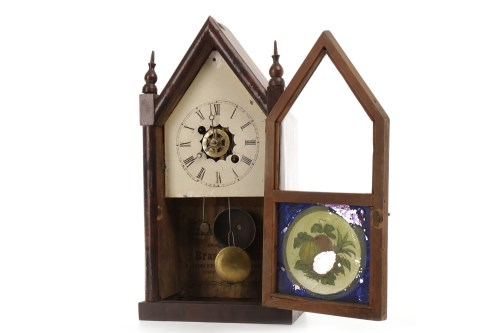 Lot 1412-LATE 19TH CENTURY AMERICAN MANTEL CLOCK two train ...