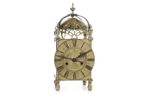 Lot 1413-VICTORIAN BRASS LANTERN CLOCK the two train eight ...