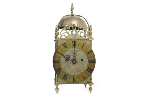 Lot 1414-VICTORIAN BRASS LANTERN CLOCK the two train eight ...