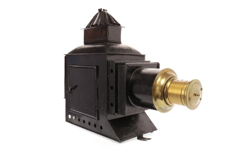 Lot 1425-VICTORIAN MAGIC LANTERN black lacquered and brass ...