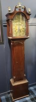 Lot 1436-MINIATURE LONGCASE CLOCK the hood with swan neck...