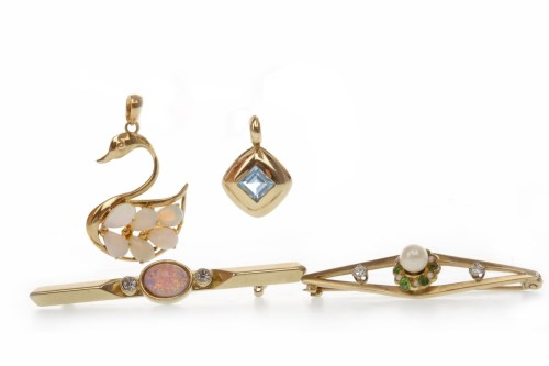 Lot 504-NINE CARAT GOLD PEARL, DIAMOND AND GEM SET BAR...
