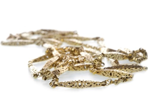 Lot 509-ORNATE CHAIN NECKLACE formed by pierced links...