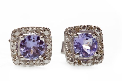 Lot 530-PAIR OF TANZANITE AND DIAMOND EARRINGS each set...