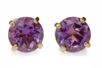 Lot 531 - PAIR OF AMETHYST EARRINGS each set with a...