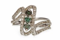 Lot 551 - BLUE AND WHITE DIAMOND DRESS RINGS of open...