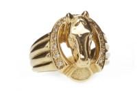 Lot 585 - DIAMOND SET HORSESHOE MOTIF RING the bezel...