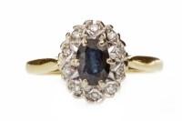 Lot 657 - EIGHTEEN CARAT GOLD BLUE GEM AND DIAMOND...