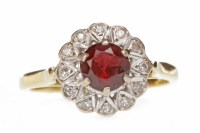 Lot 681 - EIGHTEEN CARAT GOLD RED GEM AND DIAMOND...