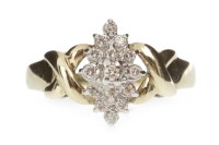 Lot 709 - ORNATE DIAMOND DRESS RING with a marquise...