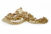 Lot 744 - NINE CARAT GOLD CHAIN NECKLACE formed by flat...