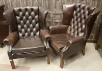 Lot 1710 - PAIR OF WING BACK ARM CHAIRS of GEORGE III...
