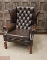 Lot 1712 - PAIR OF WING BACK ARM CHAIRS of QUEEN ANNE...